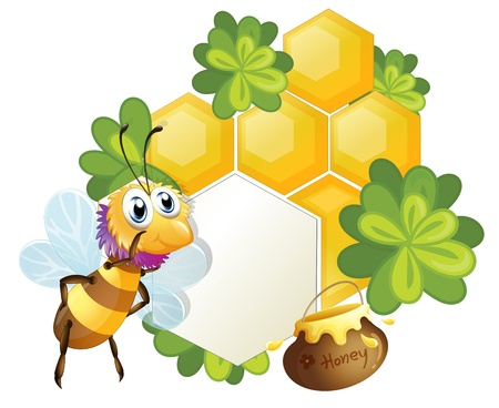 Illustration of a unique border with a bee on a white background Vector