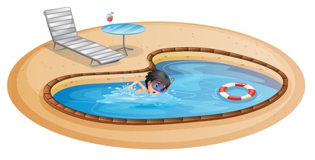 safety goggles: Illustration of a boy swimming at the pool with a beach chair and table on a white background