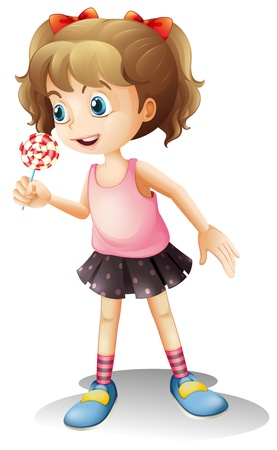 Illustration of a child holing a lollipop candy on a white background Vector