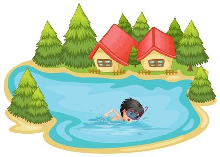 Ilustración de un niño a nadar en la piscina rodeada de pinos sobre un fondo blanco