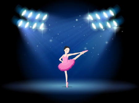 Illustration of a girl dancing ballet at the stage with spotlights Vector