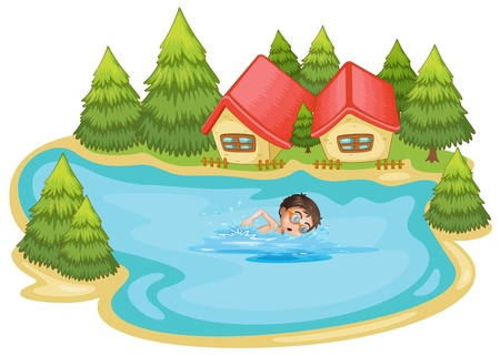 Illustration of a boy swimming at the river with pine trees on a white background Stock Vector - 19645274