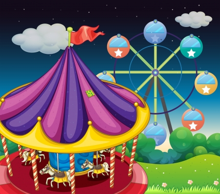 Illustration of a carrousel with ferris wheel at the back Vector