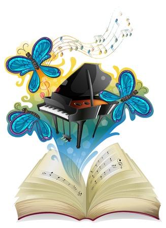 Ilustración de un libro musical sobre un fondo blanco