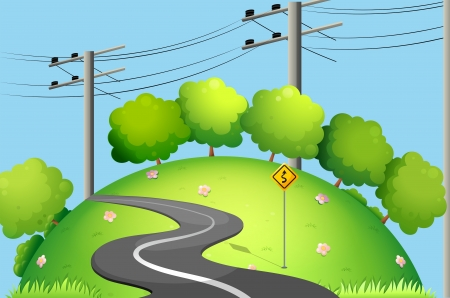 electric green: Illustration of a long road at the top of the hill