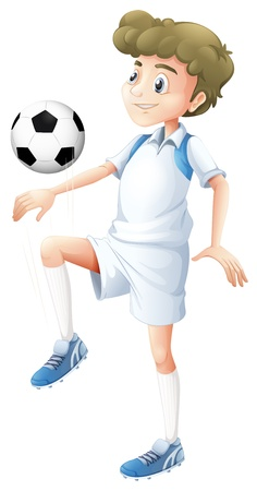 tall man: Illustration of a tall boy playing soccer on a white background Illustration