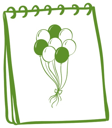 Illustration of a notebook with a drawing of balloons at the cover page on a white background Vector