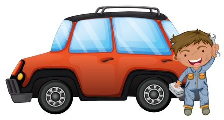 Illustration of a man fixing the orange car on a white background Stock Vector - 19645182