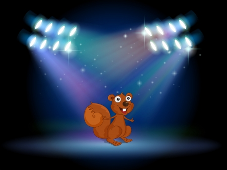 Illustration of a squirrel at the stage with spotlights Illustration