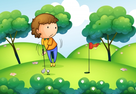 Illustration of a woman playing golf at the top of the hill Vector
