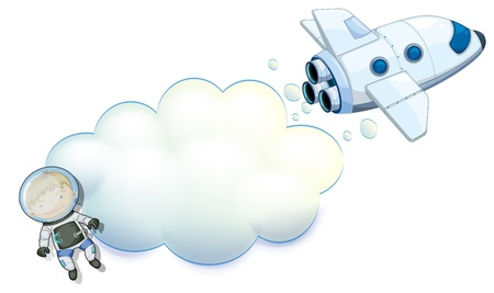Illustration of an empty space with a robot and a spaceship on a white background Vector
