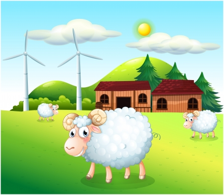 Illustration of the sheeps at the farm with windmills Vector