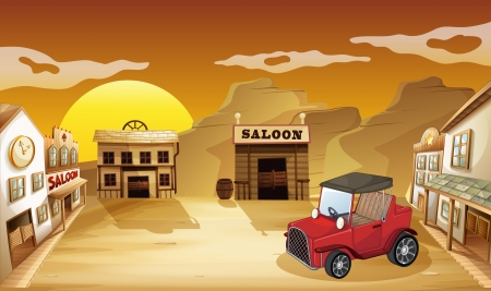 car parking: Illustration of a red jeepney outside the saloon