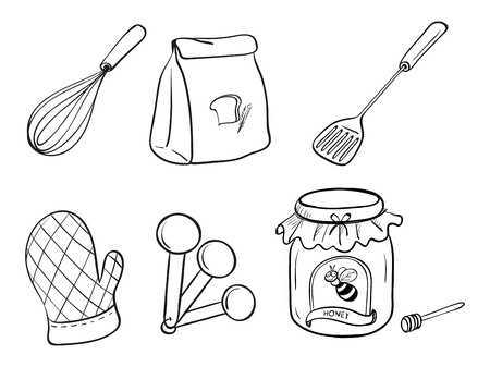 baking bread: Illustration of a doodle set of kitchen utensils, baking powder and honey jam on a white background