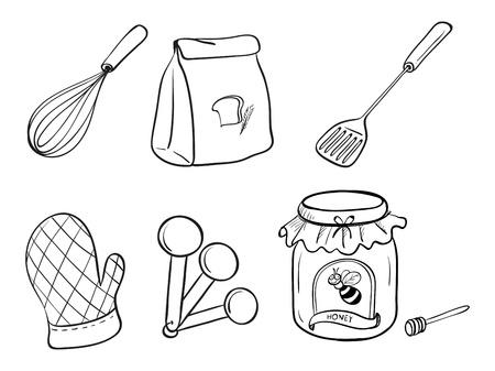 cozimento: Ilustra��o de um doodle set de utens�lios de cozinha, fermento em p� e gel�ia de mel sobre um fundo branco
