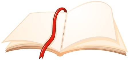 Illustration of an empty book with a red bookmark on a white background Stock Vector - 19645248
