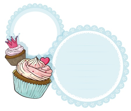 Illustration of a round stationery with two cupcakes on a white background  Stock Vector - 19717688