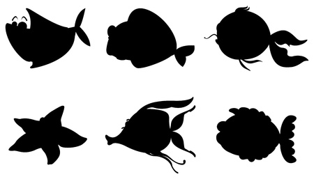seafoods: Illustration of the different silhouettes of sea creatures on a white background  Illustration