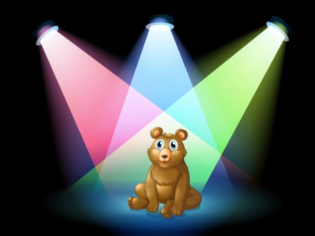 stageplay: Illustration of a bear sitting at the center of the stage with spotlights