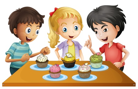 three children: Illustration of the three kids at the table with cupcakes on a white background  Illustration