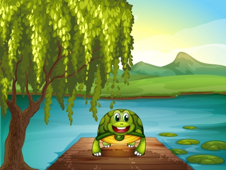 Illustration of a smiling turtle along the pond Stock Vector - 19718670