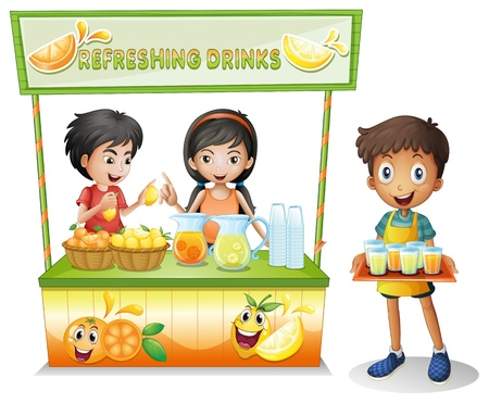 refreshed: Illustration of the three kids selling refreshing drinks on a white background