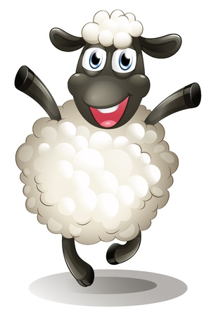 sheep eye: Illustration of a happy sheep on a white background