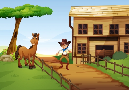 swingdoor: Illustration of an angry cowboy with a horse at the fence Illustration