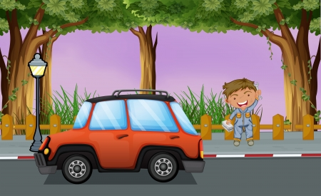Illustration of a boy with his tools near the orange vehicle Vector