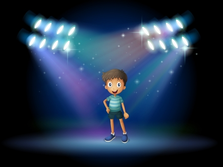 centerstage: Illustration of a stage with a young actor at the center