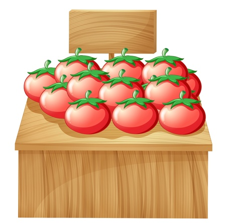 Illustration of a tomato stand with an empty wooden signboard on a white background Stock Vector - 19717668