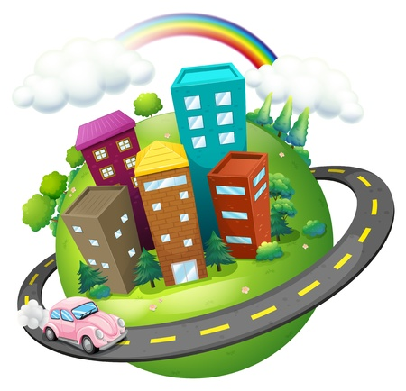 Illustration of a road surrounding the city on a white background  Vector