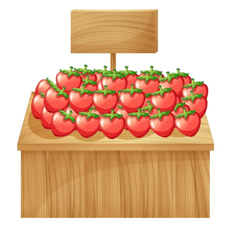 market stall: Illustration of a strawberry stand with an empty wooden signboard