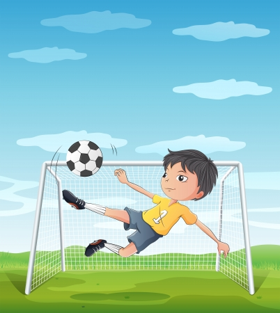 Illustration of a young athlete kicking the soccer ball Stock Vector - 19717707