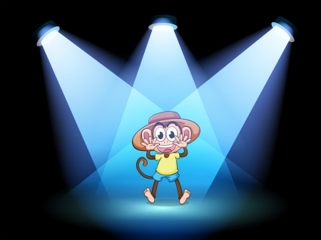 Illustration of a happy monkey at the center of the stage Vector