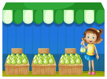 Illustration of a girl at the fruit market on a white background Stock Vector - 19718683