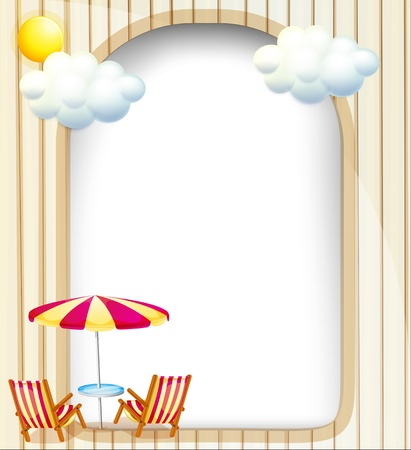 Illustration of an empty surface with beach chairs and umbrella  Stock Vector - 19717730