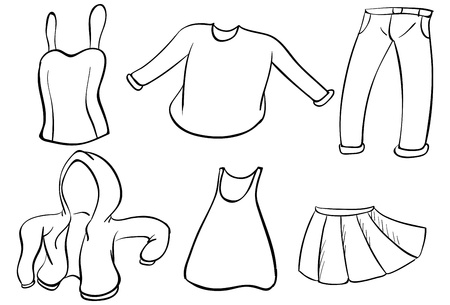 white pants: Illustration of the silhouettes of dresses on a white background Illustration