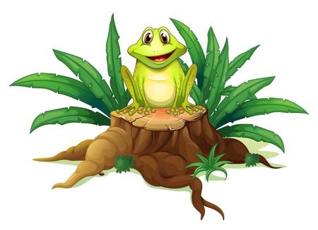 Ilustración de un tronco con una rana en un bakcground blanco Ilustración de vector