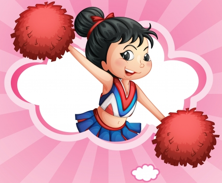 Illustration of a  cheerleader inside a cloud Vector