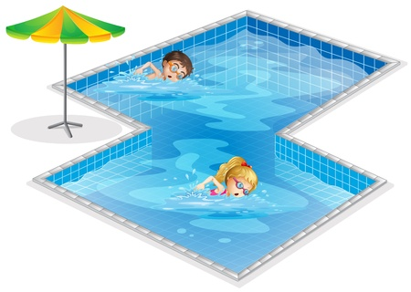 swim goggles: Illustration of a pool with a boy and a girl swimming on a white background Illustration