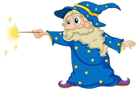 Illustration of a wizard holding a magic wand on a white background Illustration