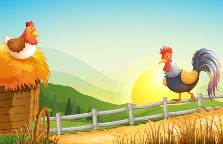 Illustration of a hen and a rooster in the farm