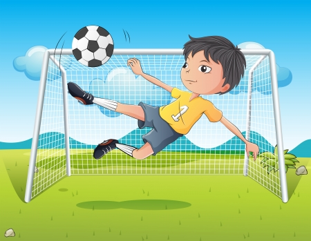 Illustration of a young gentleman kicking a soccer ball Stock Vector - 19717685