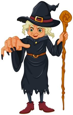 Illustration d'une sorcière tenant un bâton en bois sur un fond blanc Vecteurs