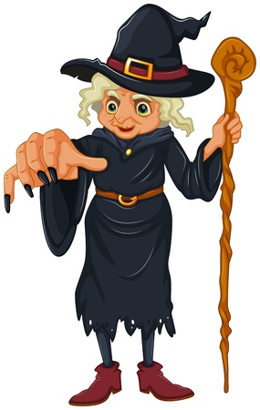 wooden stick: Illustration of a witch holding a wooden stick on a white background