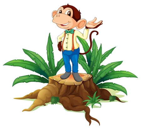 illegal logging: Illustration of a stump with a male monkey on a white background