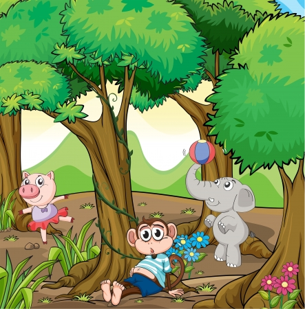 crawling: Illustration of the three different kinds of animals playing at the forest  Illustration
