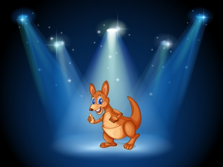 Illustration of a kangaroo at the center of the stage with spotlights Illustration