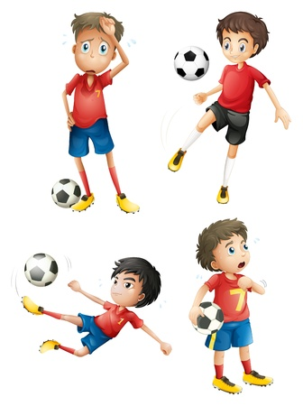 footwork: Illustration of a team of soccer players on a white background